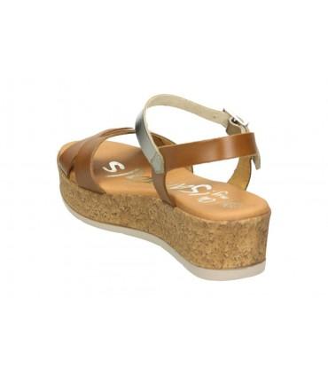 Sandalias para señora cuña nature 3957 en marron